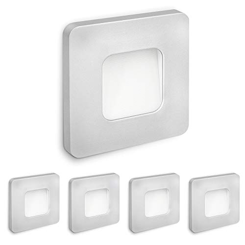 SSC-LUXon 5 X LED Faretto da incasso a parete DEVA 230 V trasformatore integrato 1 W bianco caldo per prese Ø 60 mm – Lampada da parete argento quadrato