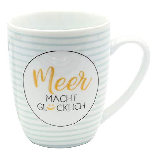 Dekohelden24 Kaffeebecher/Tasse aus Porzellan, Motiv: Meer Macht Glücklich. Größe H/Ø: 9,8 x 8,2 cm, Fassungsvermögen 250 ml, Spülmaschinengeeignet.