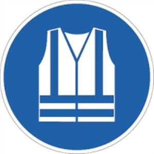 Aufkleber Warnweste benutzen 20cm Ø Folie gemäß ISO 7010, M015