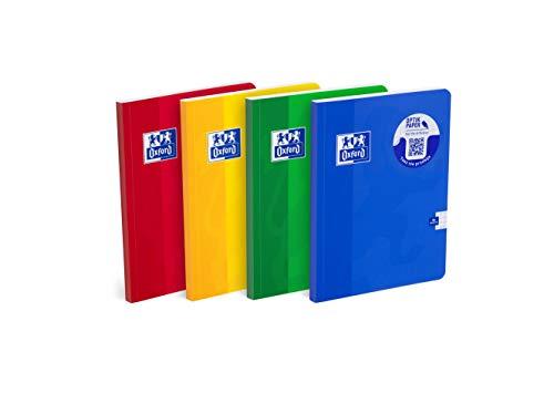 Oxford Schulheft A5, 96 Blätter, kariert, 5 Stück-Packung, Farbenmix, 400059351