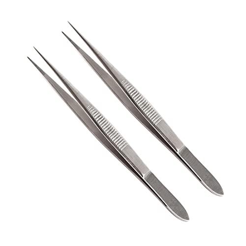 Pinzas Quirurgicas Enfermeria de Punta Fina Rectas 12 cm de Acero Inoxidable. Pack de 2
