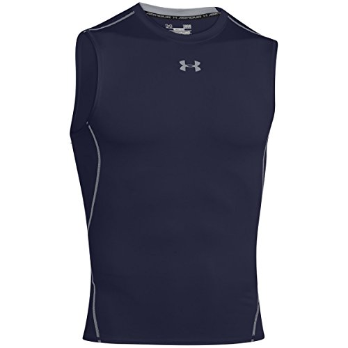 Under Armour Herren HeatGear Armour Kompressionsshirt, ärmelloses Funktionsshirt, komfortables Tank Top mit Kompressionspassform, Blau (Midnight Navy/Steel 410), M