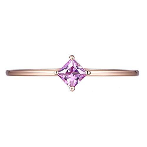 Ubestlove Rosegold Ring Damen Mama Geschenk Liebe Runder Eingelegter Rosa Saphir Ring 0.2Ct 49
