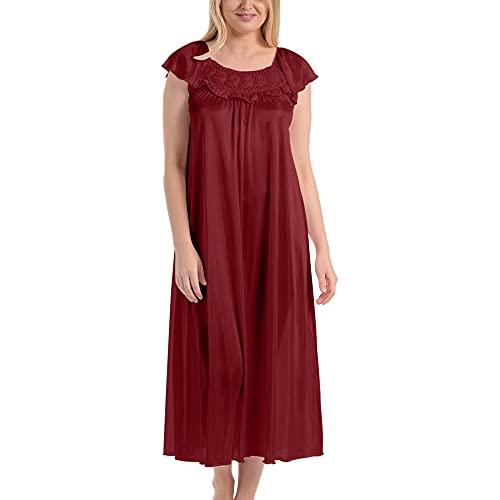 Ezi Women's Satin Silk Ruffle Long Nightgown,Wine,XL