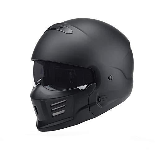 WeeLion Retro Motorrad Integralhelm Skorpion Harley Halbsturzhelm, abnehmbare Maske kann Integralhelm Halbsturzhelm DOT-Zertifizierung Sein,matteblack,L