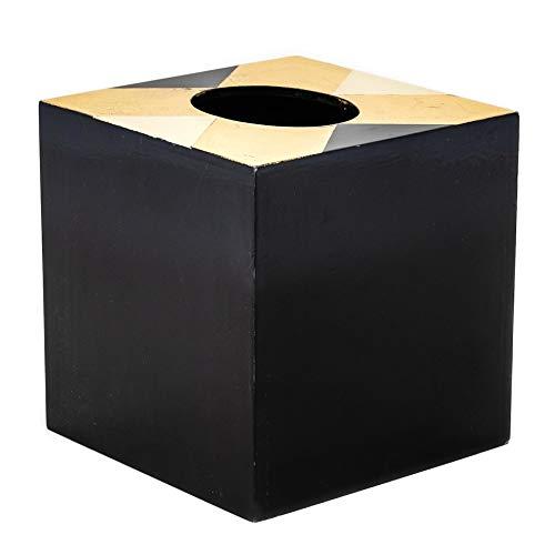 Must-Have Bins Caja de pañuelos cuadrada pintada Art Deco en color negro y dorado – Dispensador de caja de pañuelos para tocador de baño, dormitorio, aparador, escritorio de oficina o mesa de noche