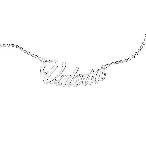 Collana Personalizzata, da Donna, con Nome. Indossa il Tuo Nome. Acciaio Inossidabile e Anallergico. Colore Argento. Progettata in Italia. (Valeria)