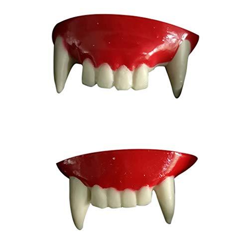 Lazzboy Halloween Gebiss Vampir Zähne Zombie Vorderzähne Kunststoff Weiche Zahnspangen Dracula Monster Werwolf Party(Rot)