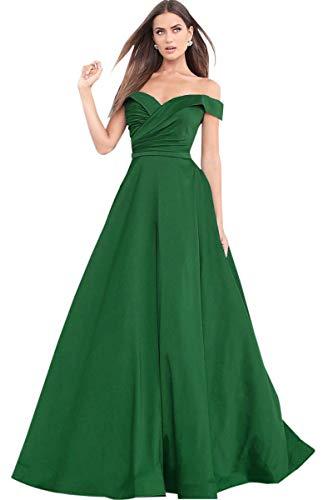 Cloverbridal Damen A-Linie Von der Schulter Abendkleider Ballkleider Lang Partykleider Brautjungfer Kleider Smaragdgrün 40