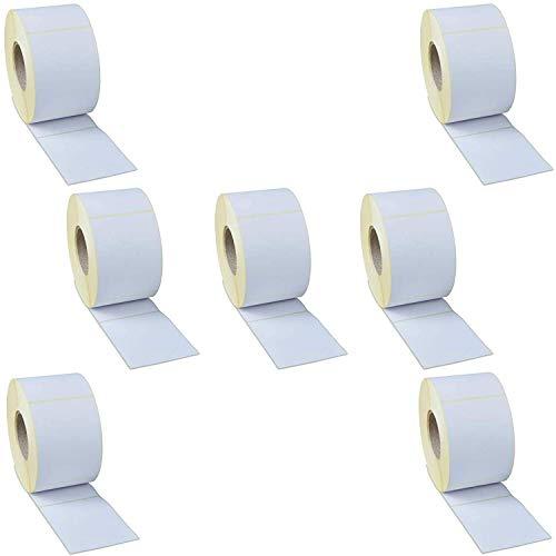 Rollo de etiquetas adhesivas para impresora térmica – Para escritura manual – Adhesivo permanente reforzado de alta calidad – Formato 100 x 100 mm – 7 rollos de 1000 etiquetas ✅
