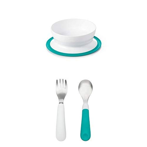 OXO Tot Stay-Put Bowl with Tot Training Fork/Spoon Set, Teal