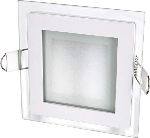LED Einbaupanel Deckenleuchte mit Trafo Kristallglas Aluminium (Eckig 6W warmweiß)
