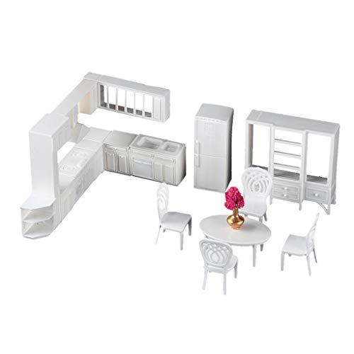 SM SunniMix 1/25 Puppenstuben Küche Zubehör, Miniatur Küchenschrank Kühlschrank Esstisch Stühle Möbel Modell Set