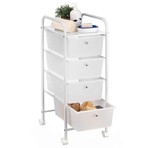 IDIMEX Badregal Rollwagen Rollcontainer GINA, mit 4 transparenten Schubladen und Metallgestell in weiß