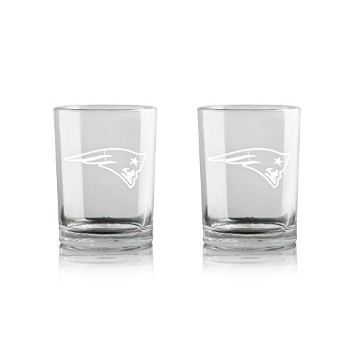 Duck House NFL New England Patriots Whiskey Rocks Glass   Frosted Team Logo   Lead-Free   Premium Glassware   12oz   Set of 2