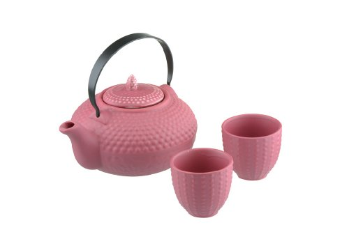 Bia Théière céramique cloutée Oriental & 2 Tasses Rose Kimono