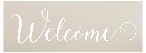 Willkommens-Schablone von StudioR12 | Sunny Cursive Script Word Art | Wiederverwendbare Mylar Schablone | Bemalen & Basteln Holzschild | Verwendung für Wandkunst, Heimdekor | Größe wählbar 11