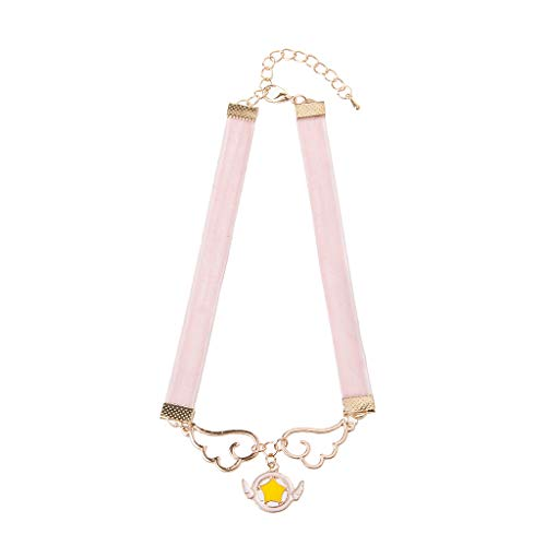 Cosplay Pendant Necklace Enamel Wing Star Heart Card Captor Sakura Velvet Choker