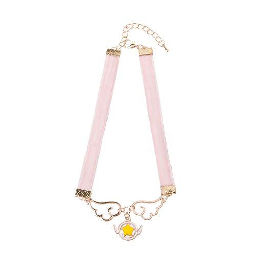 MB-LANHUA Halskette Cosplay Anhänger Halskette Emaille Wing Star Stern Herz Karte Captor Sakura Velvet Choker