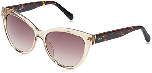 Fossil Women's FOS2058s Round Sunglasses, CRYSTAL BEIGE, 54 mm