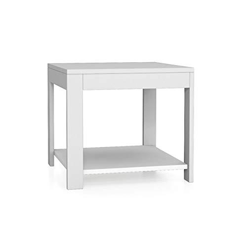 Mesa auxiliar para espacios reducidos Minimalista moderno mesa de centro de la sala de estar Dormitorio multifunción 2 pisos Mesa pequeña Longitud cuadrada 500 mm × Ancho 500 mm × Altura 450 mm Dormit