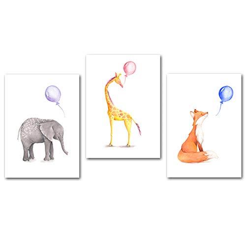Non-branded Cartoon Tier Leinwand Druck Gemälde Giraffe Elefant Fliegender Ballon Wandkunst Poster Kinderzimmer Bild Dekor für Baby Kinder Kinderzimmer 40x65cmx3 Kein Rahmen