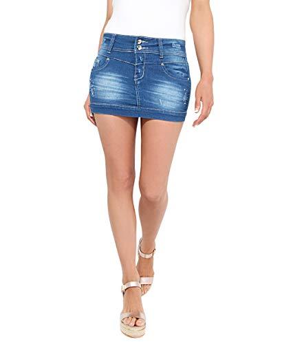 KRISP 3443-BLU-10, Falda Mujer Micro Minifalda Vaquera Desgastada Elástica Cintura, Azul, 38