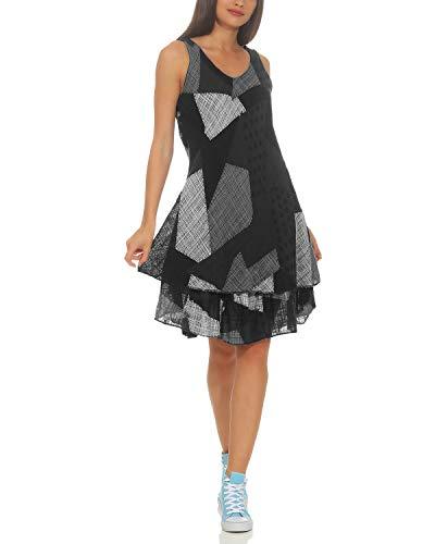 ZARMEXX Damen Sommerkleid Strand Kleid Patchwork-Print Ärmellos doppellagig A-Linie schwarz One Size (36-40)
