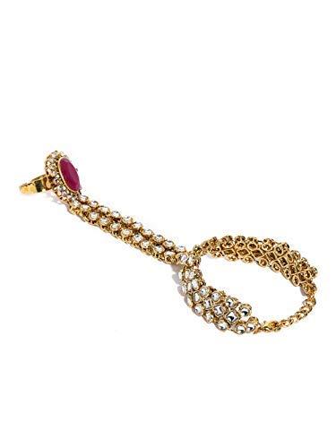 SataanReaper Presents Gold Tone Sparkling Stones Studded Ring Bracelet for Women #SR-823