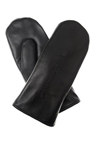 Moufles pour homme en cuir avec inserts haarschaf flechtarbeit 0670913 noir - Noir - 8