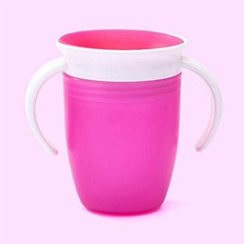 360 grados a prueba de fugas a prueba de fugas Niños de alimentación de agua Botella de alimentación Bebé rotado Aprendiendo Taza de plástico para beber con mango doble (Color : Rose red)