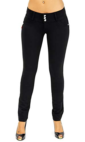 Premium Stretch Cotton Butt Lifting, Levanta Cola, Skinny Leg Premium French Terry Fashion Moleton in Black Size L