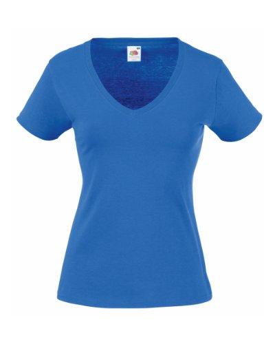 Fruit of the LoomSS047Damen-T-Shirt, V-Ausschnitt Gr. L, königsblau