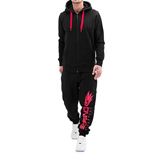 Dangerous DNGRS Jogginganzug Sweat Suit Freitzeit Sport Relaxed Anzug Schwarz/Rot M