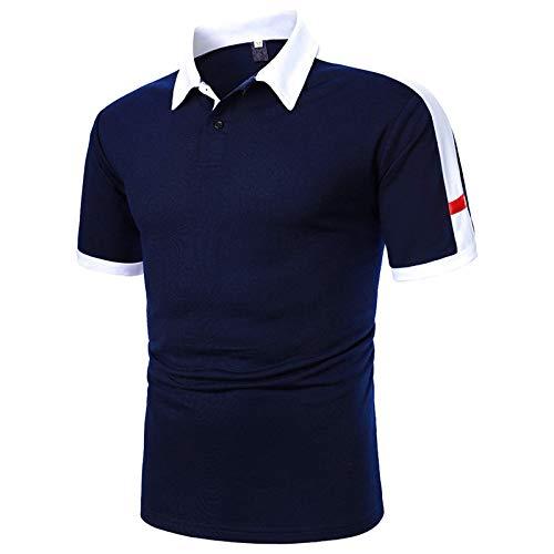 Stay&me Klassisches Herren Poloshirt Langarm Einfarbig Freizeit Polo Kragen Plaid spleißen Polohemd atmungsaktives Poloshirt für Männer Komfortables und kurzärmliges Sportshirt S-XXL (#001, XL)