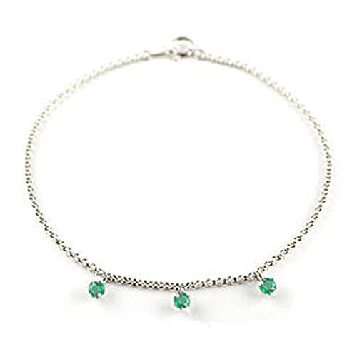 [アトラス] Atrus アンクレット メンズ pt900 プラチナ900 エメラルド トリロジー チェーン 5月誕生石 宝石 緑の宝石 20cm