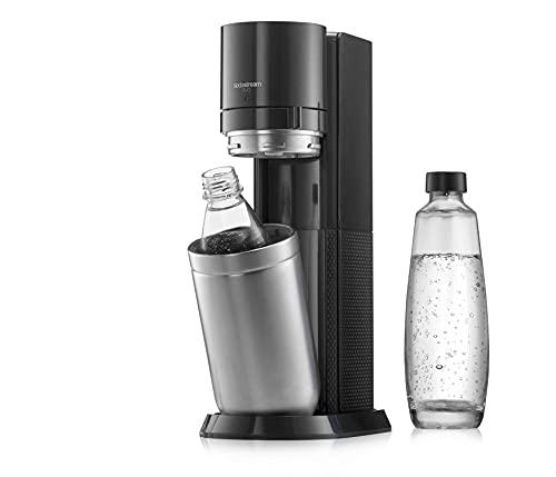 SodaStream Wassersprudler DUO Umsteiger ohne CO2-Zylinder, 1x 1L Glasflasche und 1x 1L spülmaschinenfeste Kunststoff-Flasche, Höhe: 44cm, Farbe: Titan