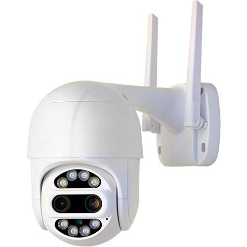 LLKK Cámara WiFi de doble lente 1080P para exteriores, seguimiento automático en la nube, cámara IP de seguridad para el hogar, 2 MP, velocidad de zoom, cámara CCTV vigilancia (color 0 GB)