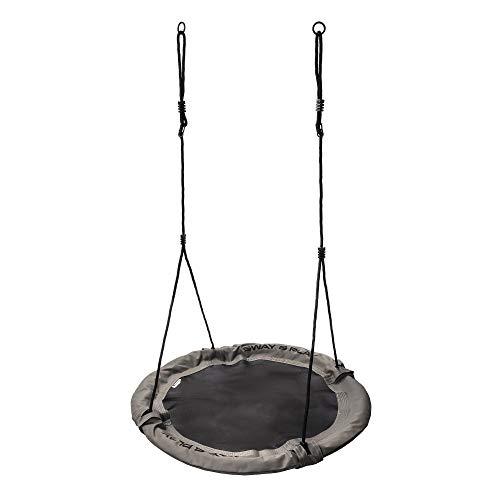 Columpio Infantil Ajustable - Nido para Niños y Adultos Columpio Redondo 100cm Diámetro Peso máximo hasta 100 kg - para Hogar Jardín Casa Exterior Aire Libre Giro (100 cm, Gris)