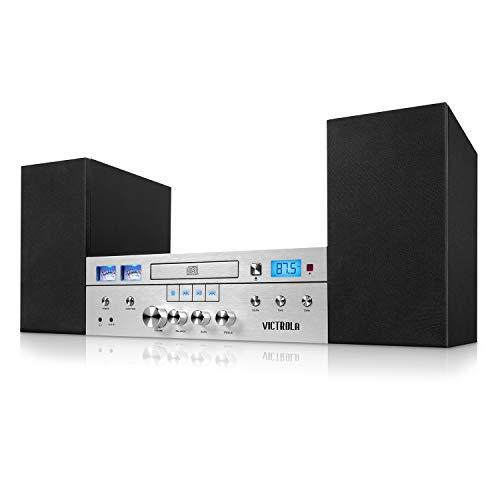 Innovative Technology Victrola Bluetooth CD Stereo System, Silver
