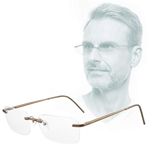 Edison & King - Leesbril Free - Randloze bril van aluminium, met verende scharnieren - Extra licht (Bruin, 2,50 dpt)