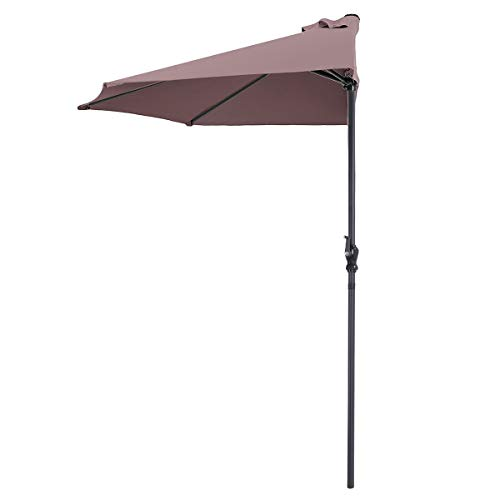 Tangkula 9 ft Half Round Outdoor Patio Umbrella, Market Umbrella with Crank, UV and Waterproof Fabric and 5 Ribs, Suitable for Café, Deck, Wall, Balcony, Window, Or Terrace (Tan)