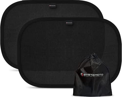 Systemoto Sonnenschutz Auto Baby - Extra dunkel - Zertifizierter UV-Schutz - 2er Set Selbsthaftende Sonnenblenden für Kinder (Schwarz)