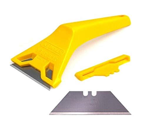 KAIBINY Hoja de sierra de Espátula de teja plana de 7 pulgadas de cristal de limpieza de limpieza herramienta de hoja pequeña pala de desengrase, antideslizante (color: amarillo, tamaño: 7 * 175 * 61.