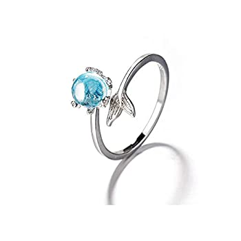 Orris Princess of Ocean Mermaid Sterling Silver Blue Crystal Adjustable Free Size Open Ring