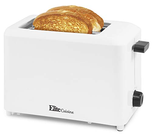 "Elite Gourmet ECT-1027 Cool Touch Toaster with 7 Temperature Settings & Extra Wide 1.25"" Slots for Bagels, Waffles, Specialty Breads, Puff Pastry, Snacks, UL Certified, 2 Slices, White"