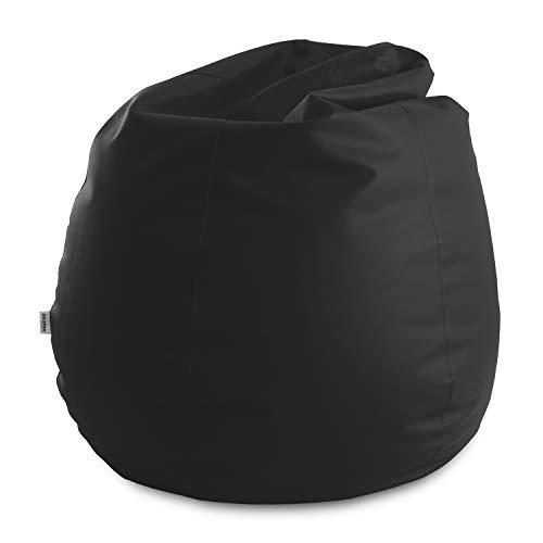 Avalon Pouf Poltrona Sacco Gigante Bag XXL Mamba 100x100x130cm Made in Italy in Tessuto Ecopelle Imbottito Colore Nero
