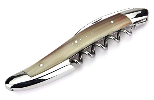 Forge de Laguiole corkscrew sommelier waiters knife - 3 functions - horn-tip handle - stainless steel shiny