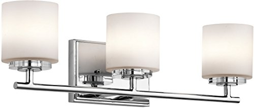 Kichler 45502CH, O Hara Glass Wall Vanity Lighting, 3 Light Halogen, Chrome