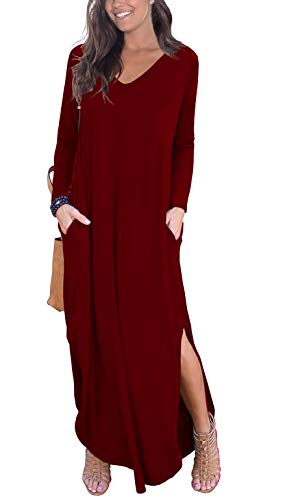 GRECERELLE Women's Casual Loose Pocket Long Dress Long Sleeve Split Maxi Dresses Wine Red X-Large